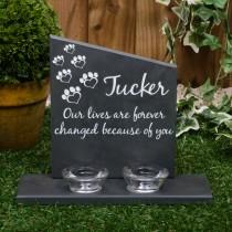 Large black slate headstone with 2 glass tea light holders