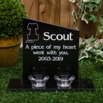 Large granite headstone with 2 glass tea light holders