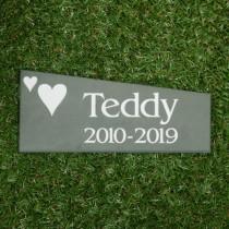 Green smooth slate memorial plaque